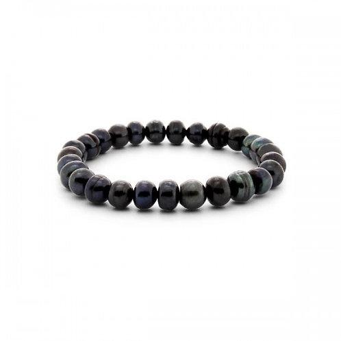 zwarte zoetwater parel armband