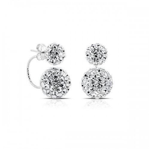 dubbel kristal zilveren oorbellen
