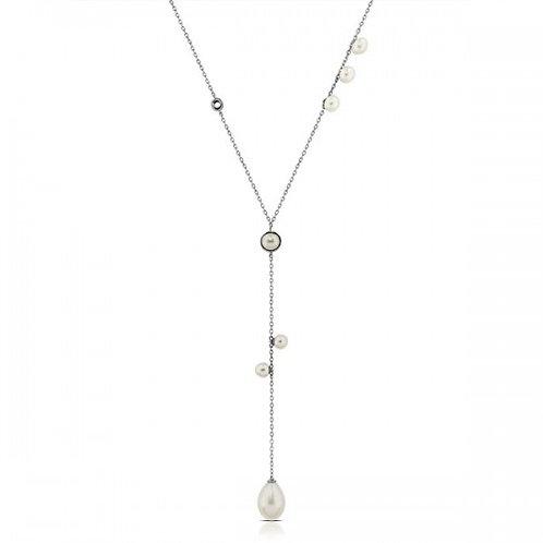 Mari zilveren halsketting met witte zoetwaterparels