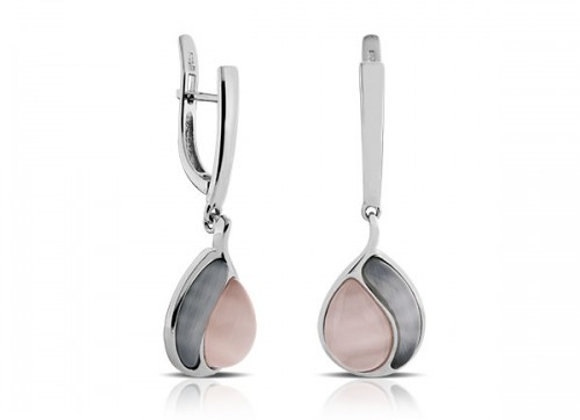 dual color cat eye silver earrings