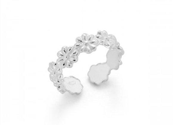 multi flower silver toe ring