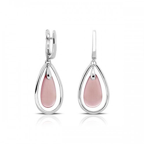drop roze kattenoog zilveren oorbellen