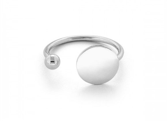 flat and ball silver ring free size