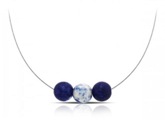 3 sponge agate wire silver necklace
