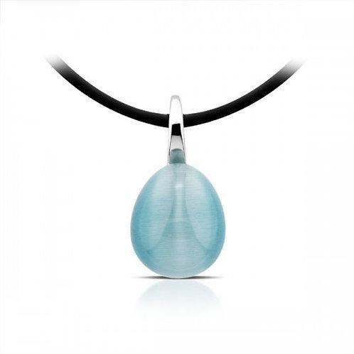 Turquoise kattenoog zilveren hanger