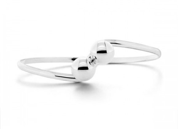 cherry twin silver bangle