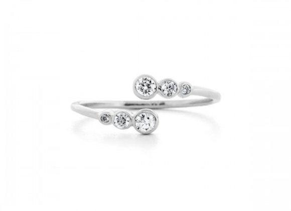 open zircon silver ring