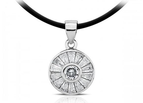 baguette wheelsilver pendant