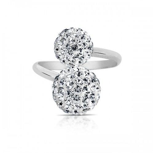 double glitz kristal zilveren ring