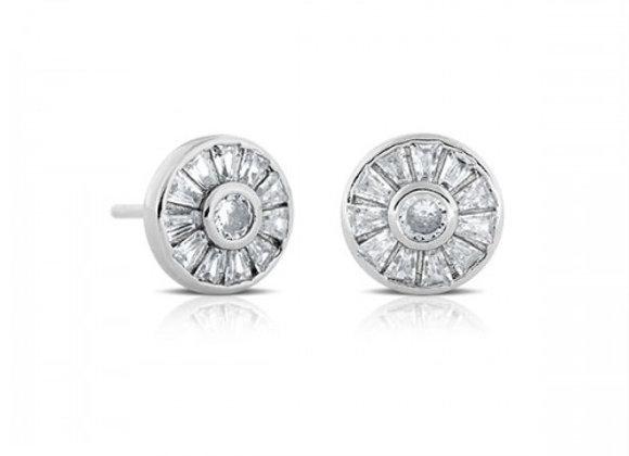 baguette wheel silver earrings