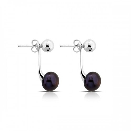 double pearl zilveren oorbellen