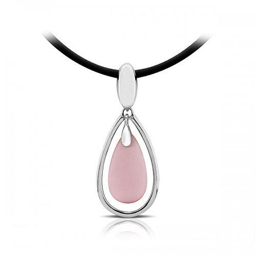 drop roze kattenoog zilveren hanger