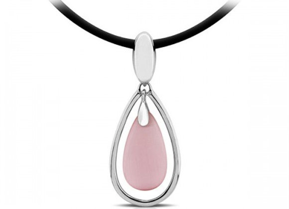 drop pink cat eye silver pendant