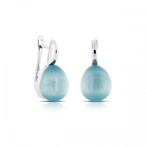 Turquoise kattenoog zilveren oorbellen