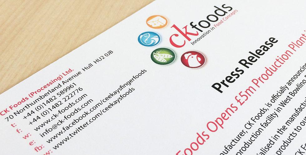 ck foods press releases