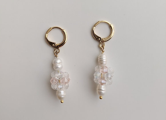 Pink Crystal Orb Hoop Earrings