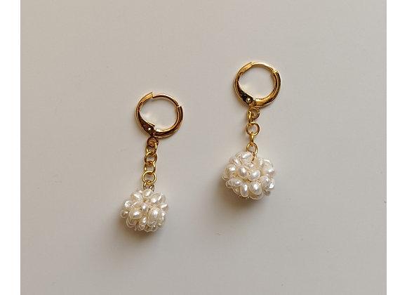 White Dandelion Hoop Earrings