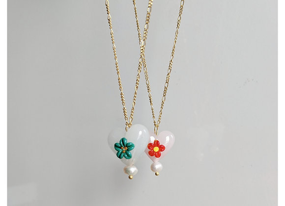 Flower Heart Necklace