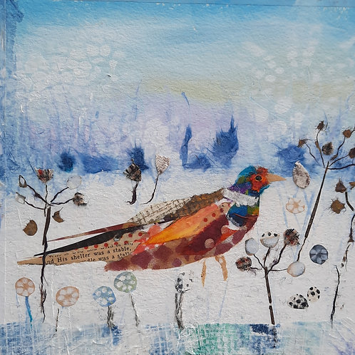 Pheasant in the Snowy Field Christmas card