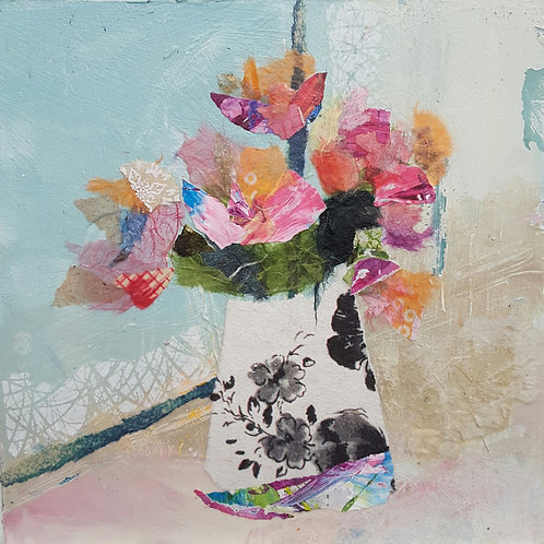 'Pink Paper Roses' greeting card