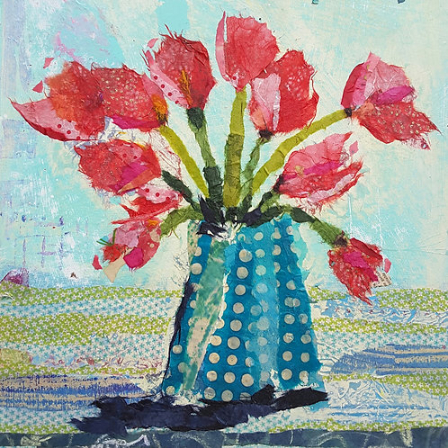 'Bright Red Tulips' greeting card