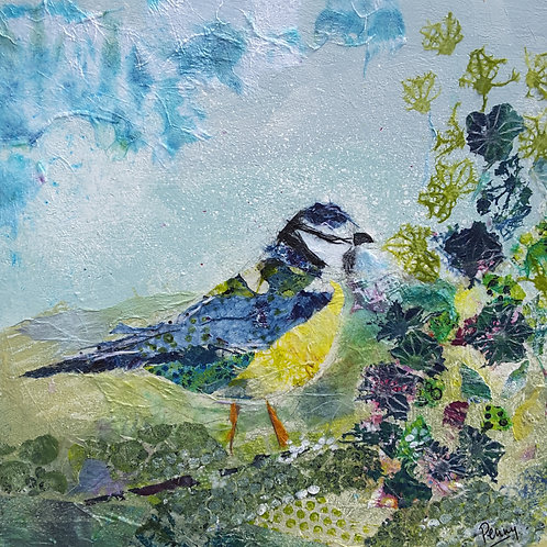 Bluetit in the flower bed