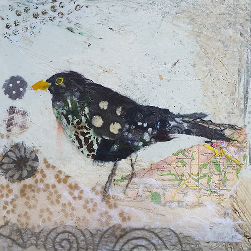 'Busy Blackbird' greeting card