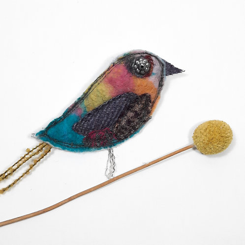 Felt bird brooch 7