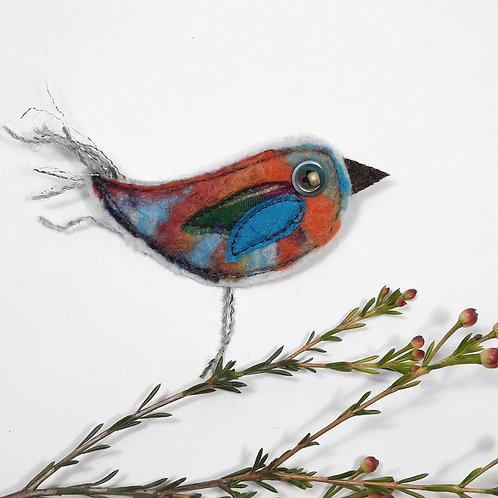 Felt bird brooch 4