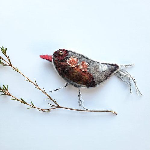 Felt bird brooch 13