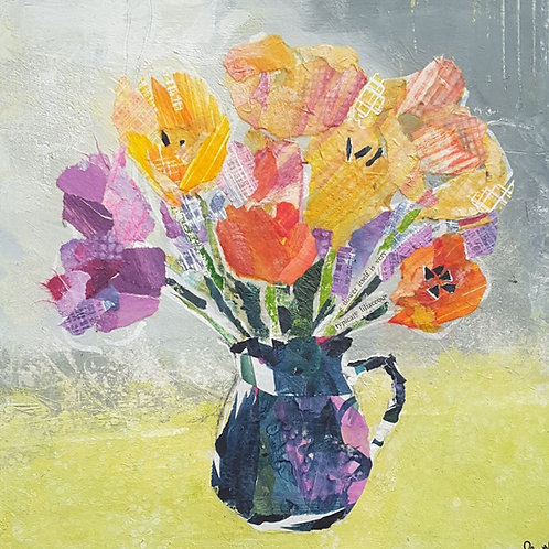 'Bright and breezy Tulips' greeting card