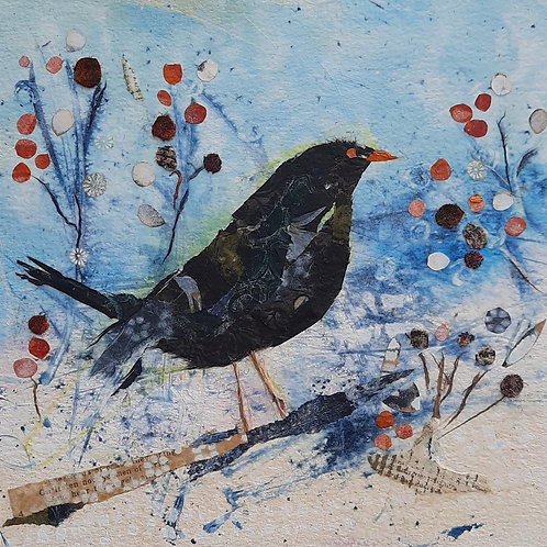 Blackbird and Red Berries  Christmas card