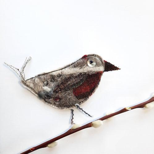 Felt bird brooch 14