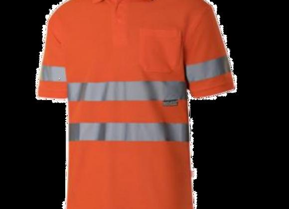 Polo orange ou jaune haute visibilité CLASSE 2 avec poche