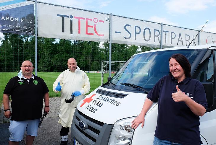 DRK und DJK eröffnen Teststation zum Trainingsbetrieb der DJK Donaueschingen e.V.