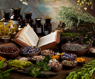 Witch Book and Herbs