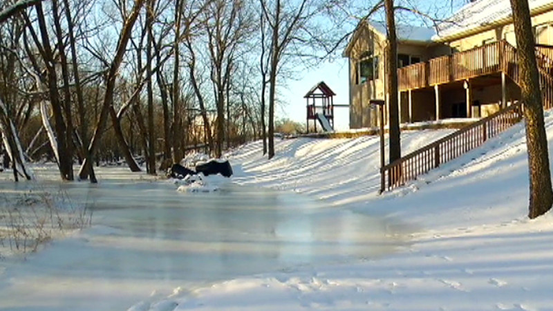 Frozen sub-surface leads to flooding