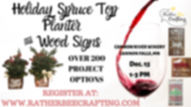 Spruce Top Planter and Wood Signs at Cannon River Winery