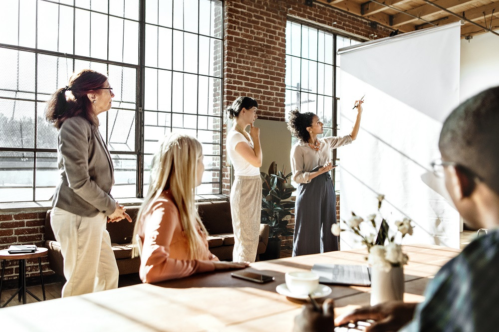 Coworkers Planning On Idea Board