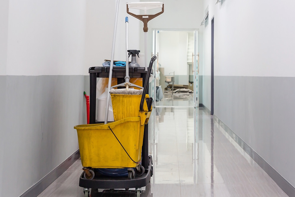 Janitorial cart in hallway