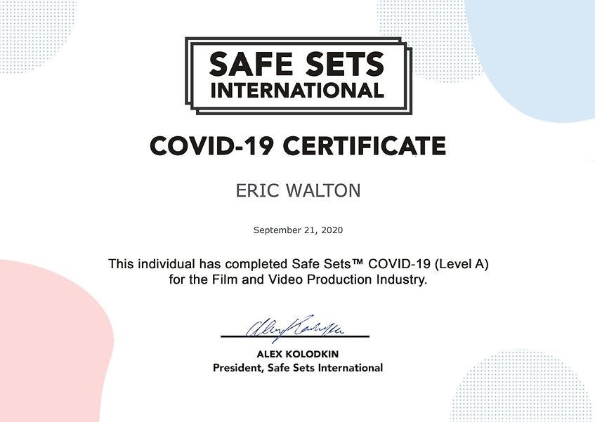 Walton COVID-19 Safe Sets certificate