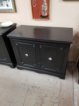 Black Two Door Flip Top Wood Server Sideboard Buffet