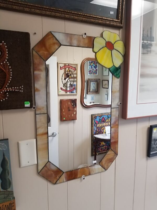Stained Glass Frame Wall Mirror w/ Yellow Flower Accent #M66