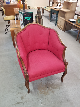 Red Upholstered Tufted Back Wood Frame Accent Chair
