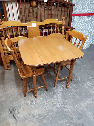 Drop Leaf Wood Dining Table w/ Two Matching Slat Back Chairs