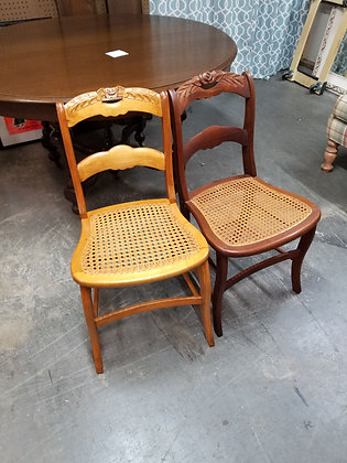 Pair of Ladder Back Style Wood Dining Chairs w/ Cane Seats