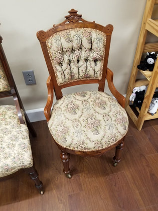 Beautiful Carved Design Wood Accent Chair w/ Tufted Floral Upholstery