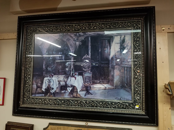 Restaurant Patio Scene Wall Art w/ Ornate Black Frame #A32