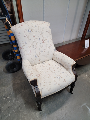 Dark Wood Accent Chair w/ Light Floral Upholstery