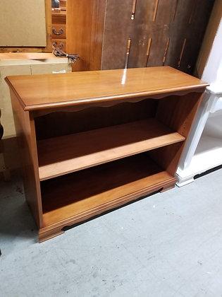 Wide Two Tier Wood Bookshelf / Bookcase w/ Adjustable Shelf